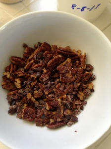Roasted pecans and cocoa nibs